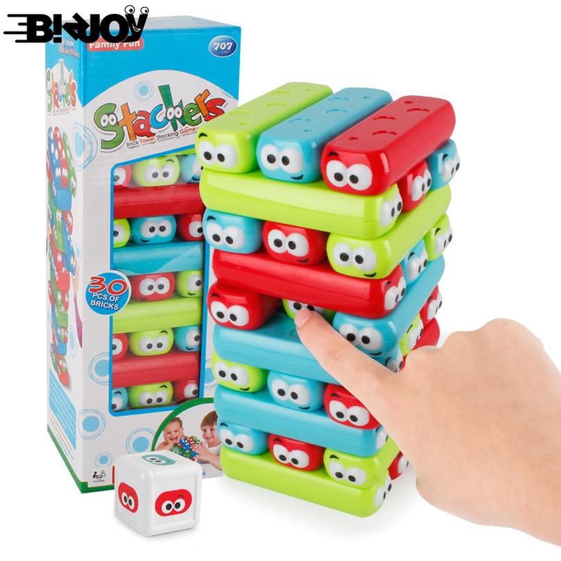 Latest Children DIY Cartoon Jenga Quality Plastic Building Blocks Intelligence Game Toys Parent-child Entertainment Interaction