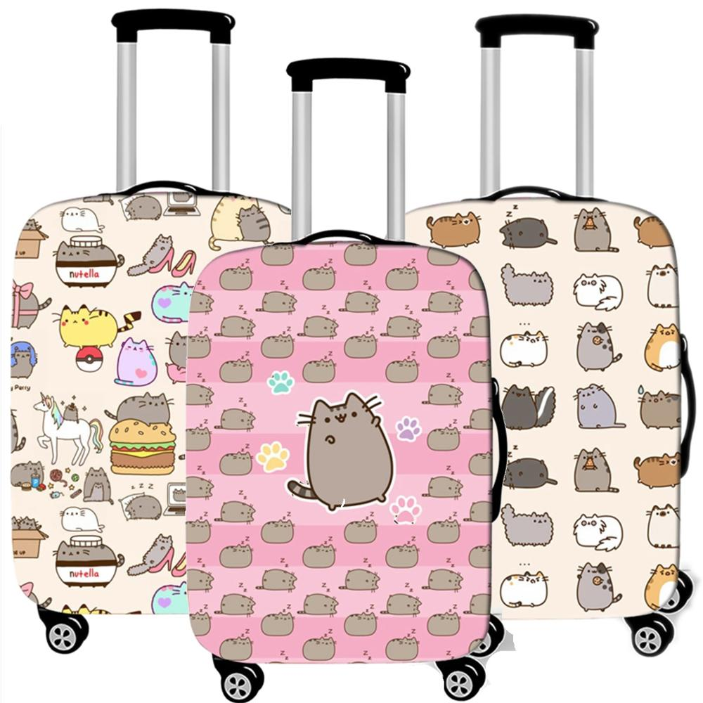 Travel Accessories Cute Cat Luggage Case Protective Cover Waterproof Elastic Thicken Suitcase Dust Trunk Case Apply 18-32 Inc XL