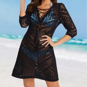 Image 3 - Doğru plaj Cover up Pareo plaj kıyafeti mayo kapak ups örgü plaj tunik mayo Cover up kadınlar plaj Kaftan kapak ups