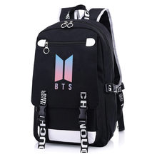 Trendy Korean black Solid color Backpack Women Men Leisure High Quality Wear Resistance Embossing Computer Travel Bag(China)