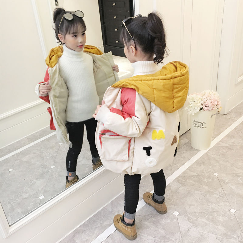 New Girls Cotton Padded Clothes Autumn Winter Kids Spliced Coat Outerwear Children's Fashion Thickened Hooded Wadded Jacket X481