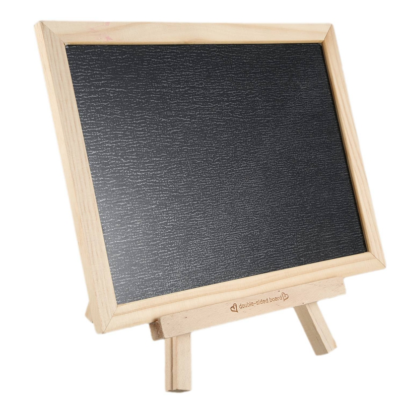 HOT-Household Cute Solid Wood Small Blackboard Double-Sided Children's Painting Board With Bracket Can Be Wall-Mounted Magnetic