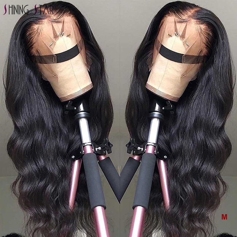 Shining Star 13*4 Long Lace Front Human Hair Wigs Body Wave Peruvian Remy Hair Wigs Pre Plucked Natural Hairline Wigs For Women