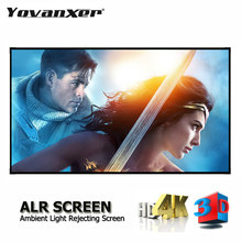 Proyector de luz ambiental ALR para cine en casa sin marco, pantalla de proyector de 84, 92, 100, 120, 133 y 150 pulgadas