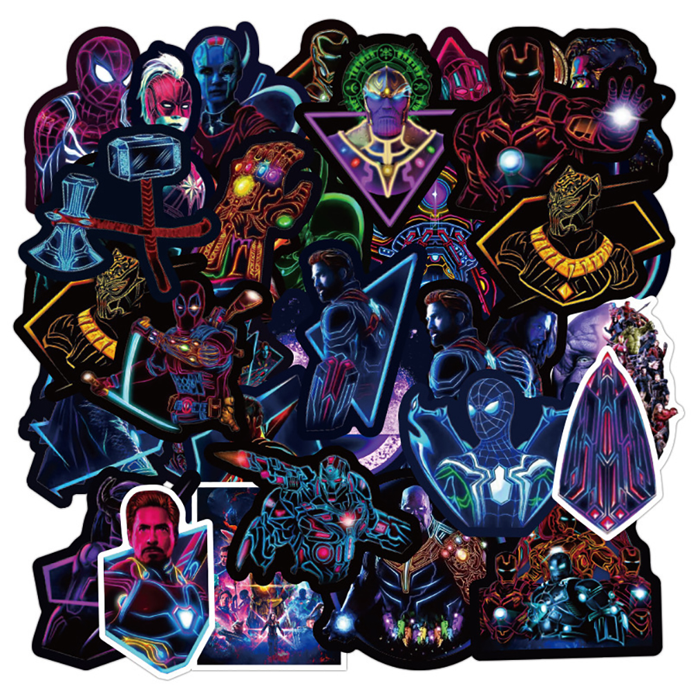 100PCS Neon Marvel Avengers Super Hero Stickers Travel Luggage Phone Guitar Fridge Laptop Waterproof Classic Toy Decal Stickers