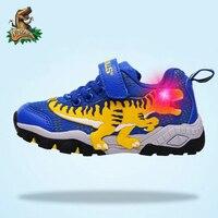 Dinoskulls Children's Sports Shoes Boys Dinosaur Glowing Sneakers Autumn Tennis Mesh Breathable 5 kids LED Light T rex Shoes boy