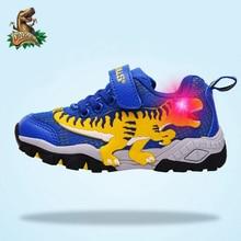 Dinskulls dziecięce sportowe buty chłopięce dinozaury świecące tenisówki jesienne tenisowe siatkowe oddychające 5 dzieci LED Light t rex buty boy