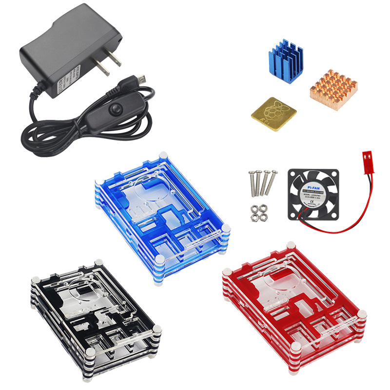 Raspberry Pi 3 Model B Accessory Kit Heat Sink+Radiator Fan+5V2.5A Switch Power Supply+Acrylic Case