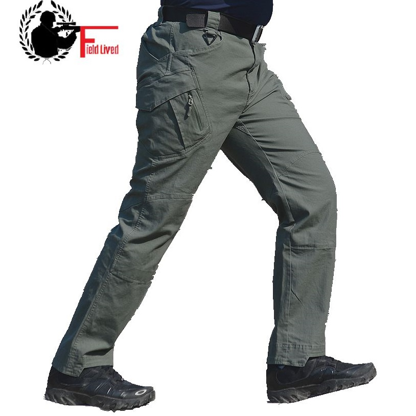Tactical Pants Mens Military Pants MALE Army TROUSERS IX9 Cotton Cargo Pants Elastic Waist Many Pocket Work Combat SWAT Clothing