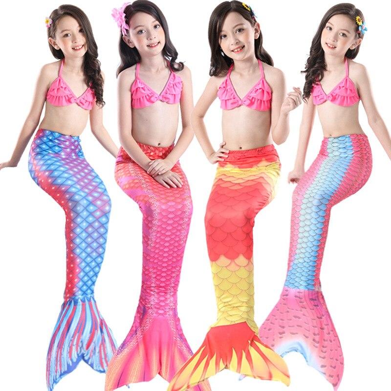 2019 New Style Children Mermaid Swimsuit Girls Mermaid Tail Tour Bathing Suit Mermaid Bikini Three-piece Set