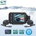 Водонепроницаемый видеорегистратор для мотоцикла GreenYi, 720P HD, передний и задний вид