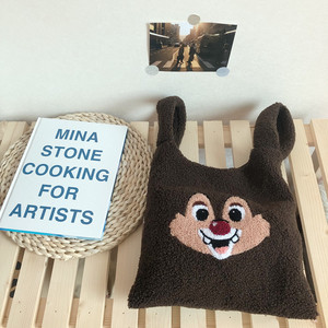 plush shoulder bag winter cartoon handbags cute squirrel face embroidery hand bag women solid color ladies bag tote 28*30cm