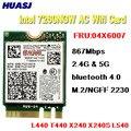 Сетевая карта Huasj Intel, сетевая карта для Lenovo T440 X240 B40 B50 Y40 Y70 Y50 FRU 04X6007, AC 867M, Wi-Fi, bluetooth 4,0