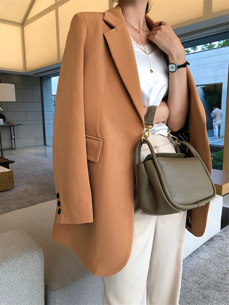 No Buckle Chic Suit Women's Jacket 2020 Spring And Autumn New Mid-length Leisure Korean Plus Size Blazer Femme Black Coat F2640