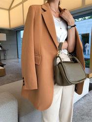No Fibbia Chic Vestito delle Donne Giacca 2020 Primavera e Autunno Nuovo Mid-lunghezza Per Il Tempo Libero Coreano Più Il Formato Giacca femme Cappotto Nero f2640