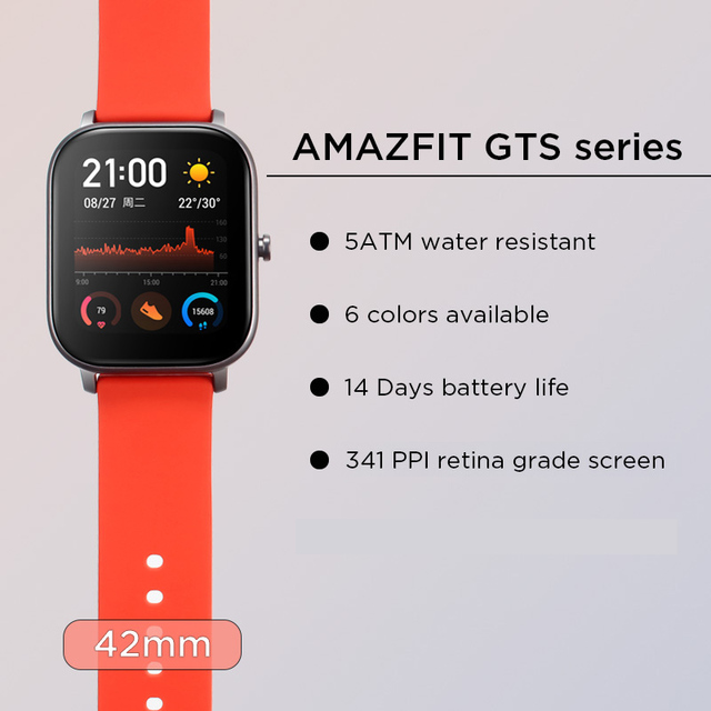 Global Version NEW Amazfit GTS Smart Watch 5ATM Waterproof Swimming Smartwatch 14Days Battery Music Control for Xiaomi IOS Phone 2