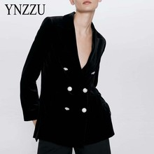 High Quality 2020 New Velvet Women Blazer Black Elegant Double breasted Lady Blazers Suits Long Sleeve Loose Jacket YNZZU 9O166