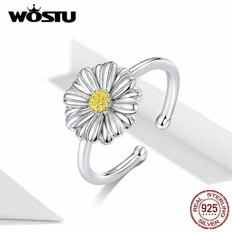 WOSTU แฟชั่น 925 Sterling Silver Daisy ดอกไม้แหวนเปิดแหวนนิ้วมือเครื่องประดับงานแต่งงาน CQR616