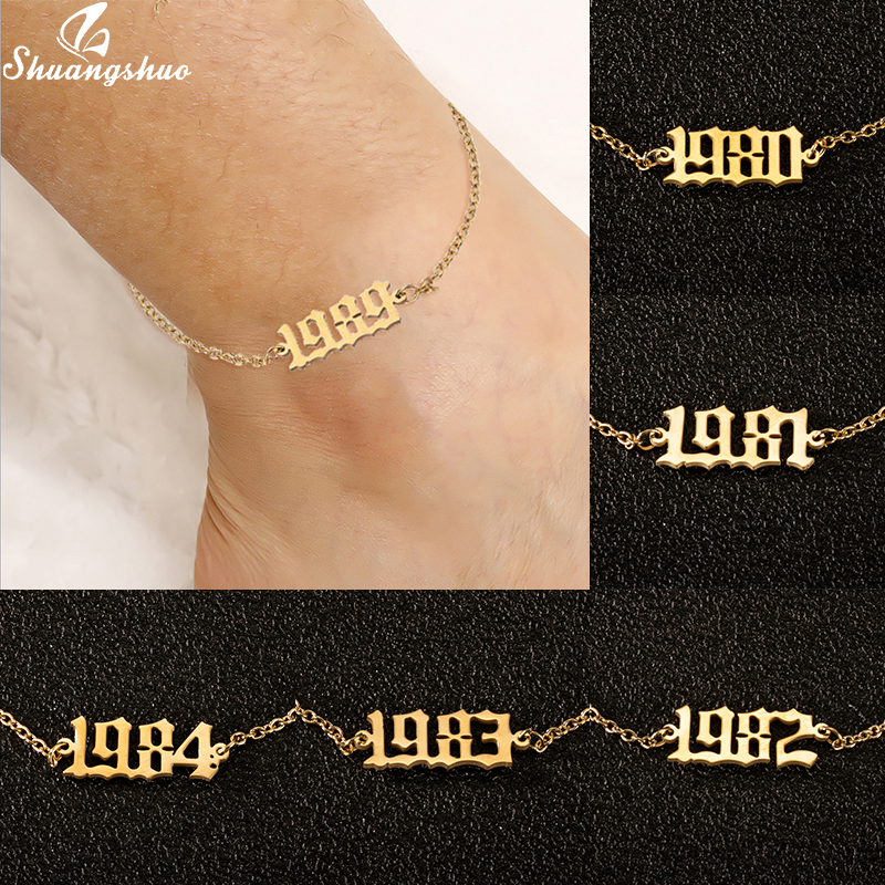 Boho English Number Letter Ankle Leg Bracelet Jewelry 1980-2000 Birth Year Anklet Stainless Steel Custom Date Anklet Best Friend