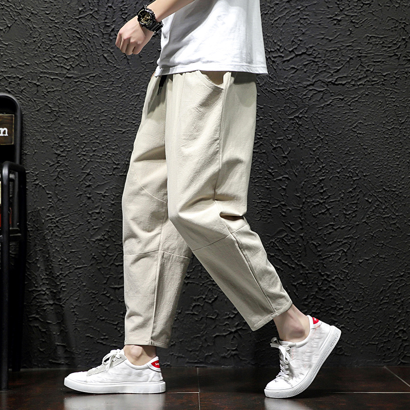 Mens Straight Casual Ankle-Length Pants Chinese Style Summer Male Harem Pants Spring Mens Cargo Pants Cotton Comfortable Solid P
