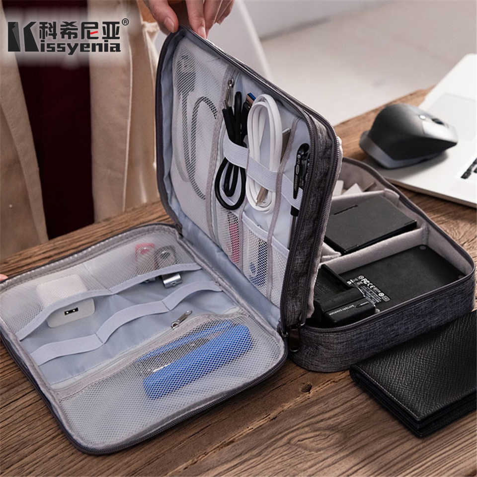 Kissyenia портативный кабель сумка Цифровой гаджет USB провода Органайзер 3 слоя путешествия бизнес цифровые аксессуары чехол KS1358