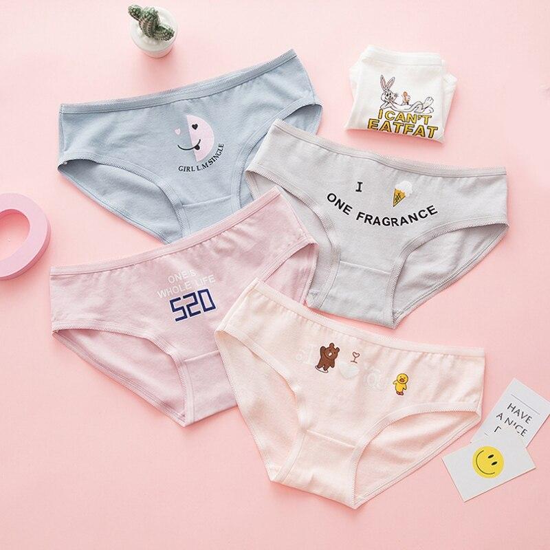 Cotton Women Cute Briefs Underwear Embroider Cartoon Print Shorts Pink Panties