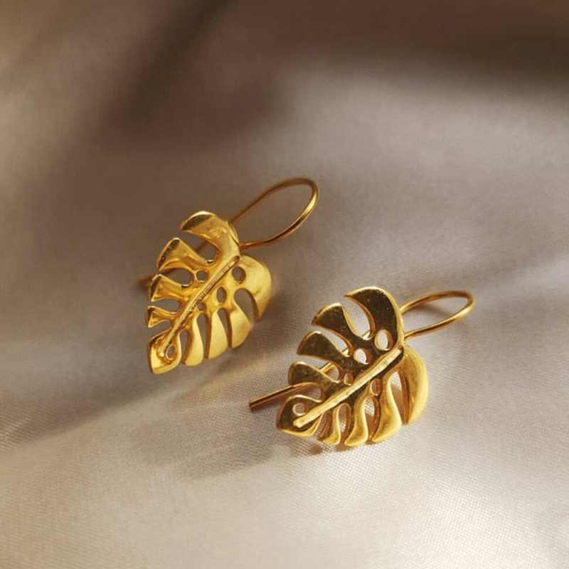 Creative Handmade Design Fine Jewelry Gold Colour Monstera Leaves Drop Earrings For Women Bijoux