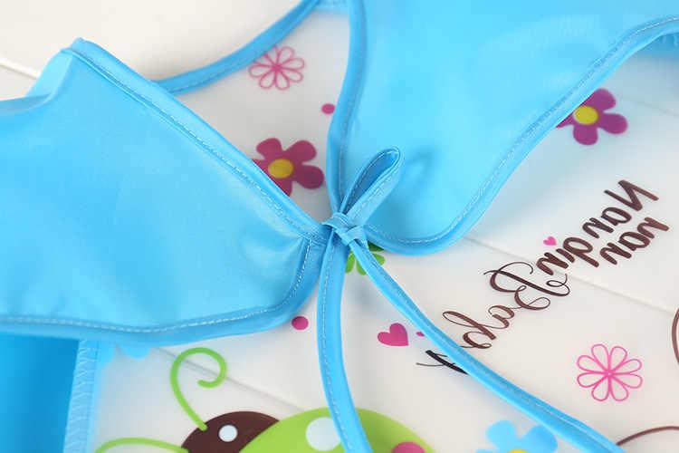 Lucu Bayi Oto Tahan Air Lengan Panjang Apron Anak-anak Feeding Smock Bib Bersendawa Pakaian Lembut Makan Balita Baberos Bavoir Pakaian