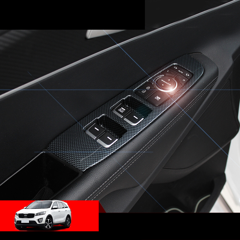 lsrtw2017 carbon fiber car window control panel trims for kia sorento prime 2015 2016 2017 2018 2019 2020 um accessories chrome
