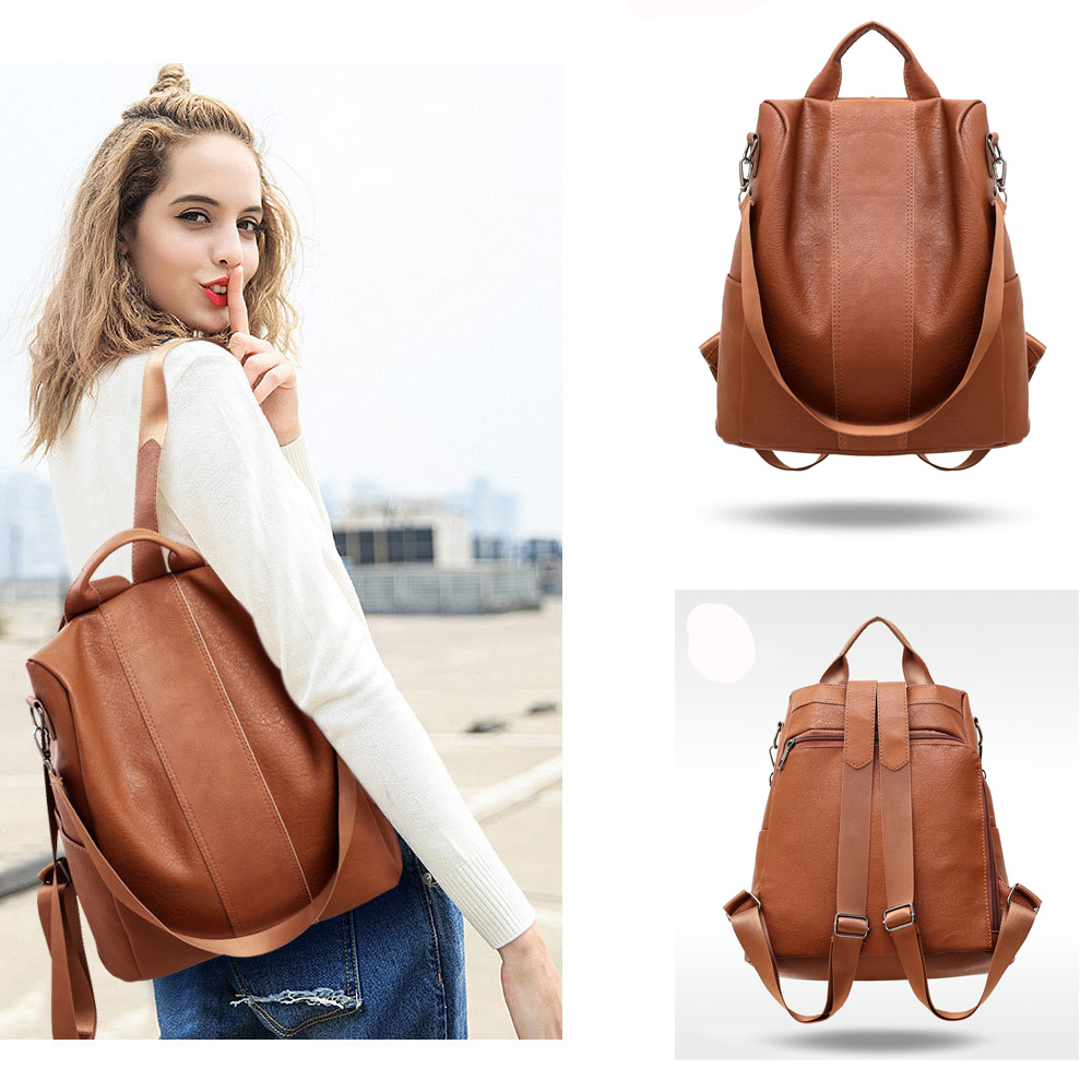 2020 Hot Fashion Female Anti-theft Backpack Classic PU Leather Solid Color Backpack Canta Fashion Shoulder Bag For Women Gift