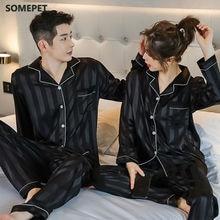 Conjuntos de pijama de seda de cetim de luxo conjunto de pijamas casal amantes de pijama noite terno masculino & feminino casual casa roupas de dormir