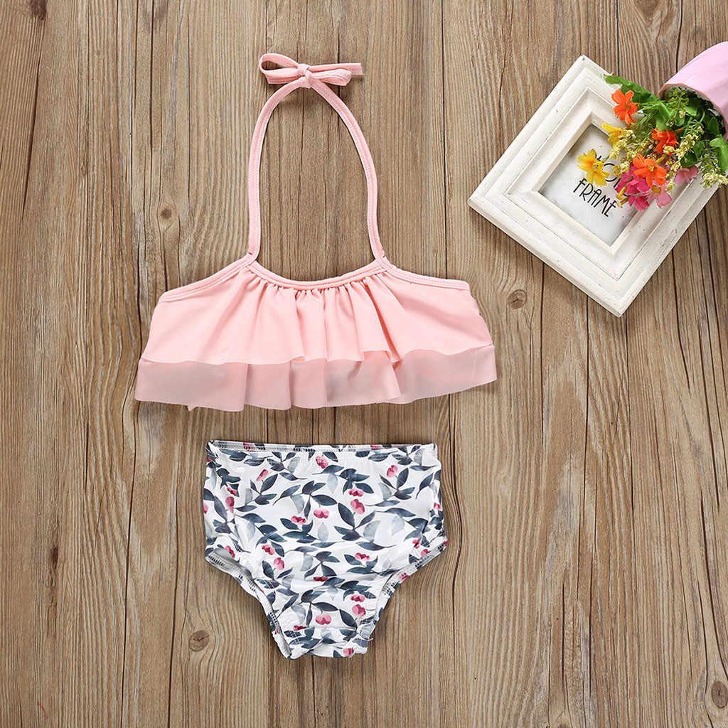 Strój kąpielowy dla dzieci new fashion dziewczynek liść drukuj kamizelka letnie stroje kąpielowe strój kąpielowy bikini stroje 2020 baby girl stroje kąpielowe