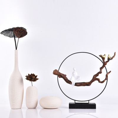 Resin Decoration Creative Statue Gift Zen Thread Vase Crafts Sculpture Creative Home TV Cabinet Living Room Porch Decorations