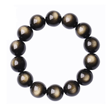 Natural Gold Obsidian Stone Jades Bracelet  Round Beads Bangles lovers Gift for Men Womens Jewelry