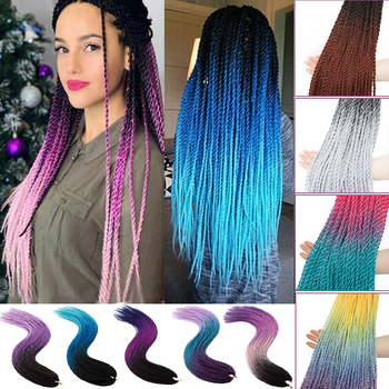 BENEHAIR Senegalese Twist Hair Crochet Braids Synthetic Braiding Extensions 30 Roots/pack Ombre For Women - discount item  25% OFF Synthetic Hair