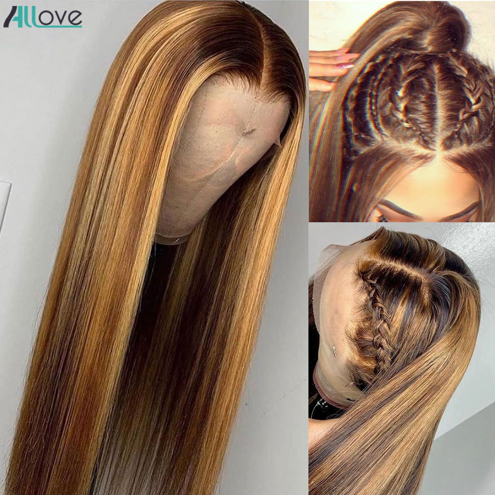 Allove Highlight Wig  5X5 Lace Closure Wig Honey Blonde Lace Front Wigs Ombre Bone Straight Lace Front  Wigs 2
