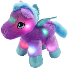 Luminous Pillow Colorful Glow Unicorn Cushion Light Up LED Plush Toys 30 Min Timer Stuffed Animal Plush Doll Light Toys for Kids