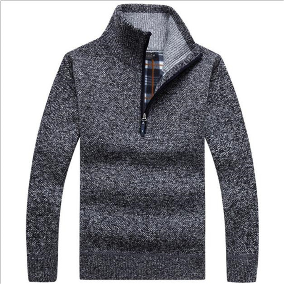 Autumn Men's Thick Warm Knitted Pullover Half Zip Wool Fleece Winter Coat Comfy Clothing Solid Long Sleeve Turtleneck Sweaters