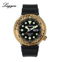 Lugyou San Martin Tonijn SBBN015 Mechanische Mannen Horloge Brons Rubber Black Sapphire Convex 300 Meter Waterbestendig Super Glow