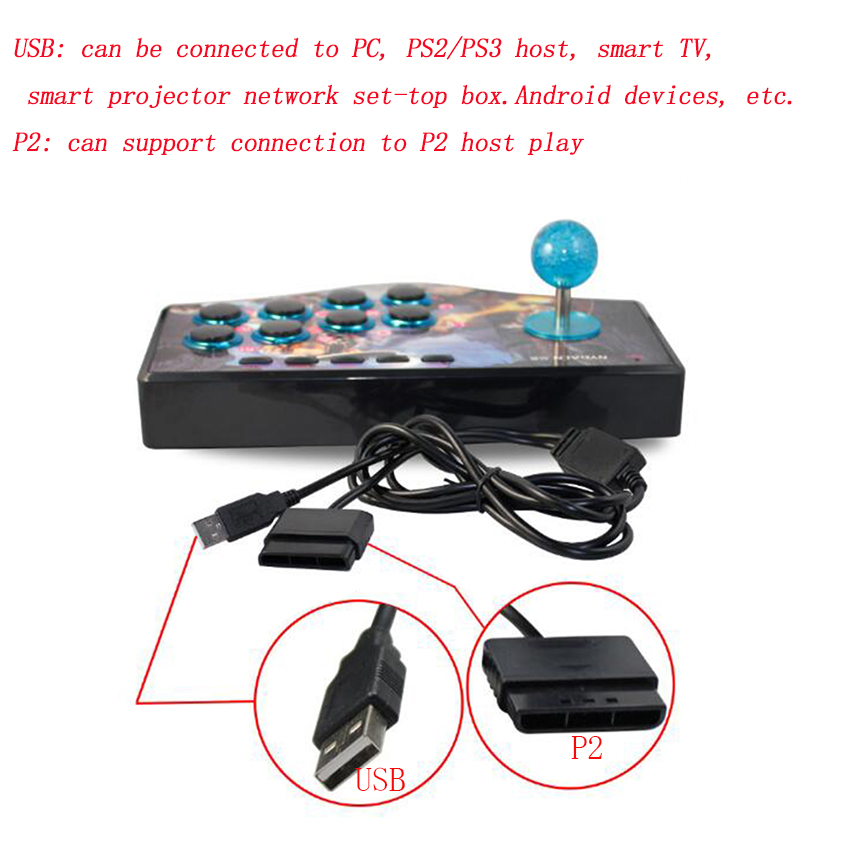 USB Rocker Game Controller Arcade Joystick Gamepad Fighting Stick Suitable forAndroid PS2 PS3 PC (USB)Smart TV image