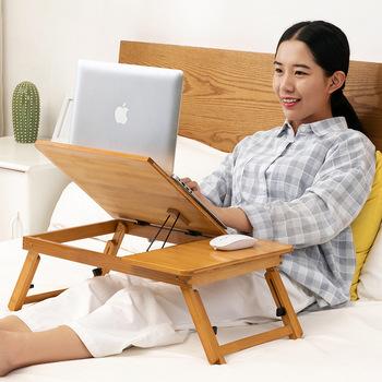Trojany składają laptopy łóżka stołowe małe stoły akademiki leniwi ludzie proste biurka stoły do nauki tanie i dobre opinie Laptop biurko 0025 Biurko komputerowe Meble szkolne Meble sklepowe China BAMBOO Bamboo and rattan 60*40*30 3 25kg Modern simplicity