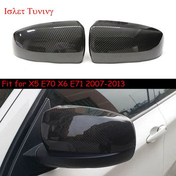 OEM Carbon Fiber Mirror Cover  for BMW X5 X6 E70 E71 Replacement/Add-on Side Door Rearviews Caps Shell 2007 2008 - 2013