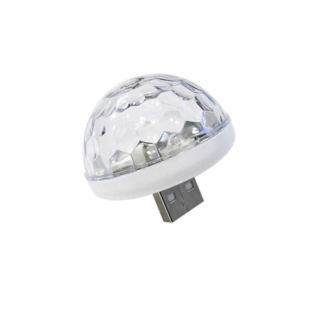 Voice Control Small Magic Ball Lamp Usb Crystal Magic Ball Stage Lamp DJ Disco KTV Laser Projector Music Lights LED Light Bulb