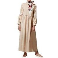Autumn Dress Women 2019 Fashion Plus Size Women Casual Linen Solid Linen Lace Patchwork Long Sleeve Loose Dress K919