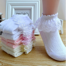 Breathable Cotton Lace Ruffle Princess Mesh Socks Children Ankle Short Sock White Pink Yellow