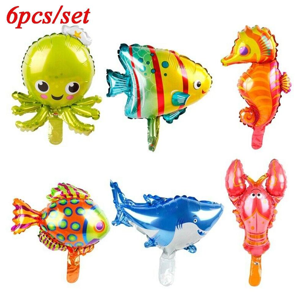 6 Pcs Lovely Balloons Kids Toys Ocean Octopus Shark Fish Animal Shape Foil Balloons Wedding Birthday Party Decor Supply Kid Gift