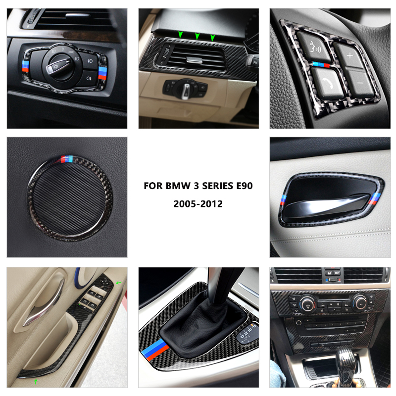 <font><b>Carbon</b></font> <font><b>Fiber</b></font> Car <font><b>Interior</b></font> Door Handle / Steering Wheel / Air Outlet CD Panel Cover Trim For <font><b>BMW</b></font> 3 Series <font><b>E90</b></font> E92 E93 2005 - 2012 image