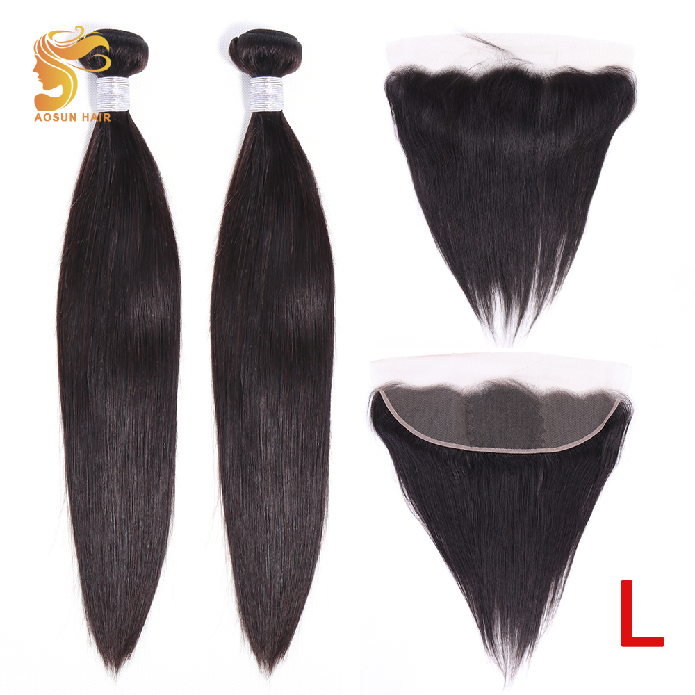 AOSUN HAIR Peruvian Hair Weave Bundles Straight With Ear To Ear Frontal 100% Human Hair 8-26inch Natural Color Remy Low Ratio