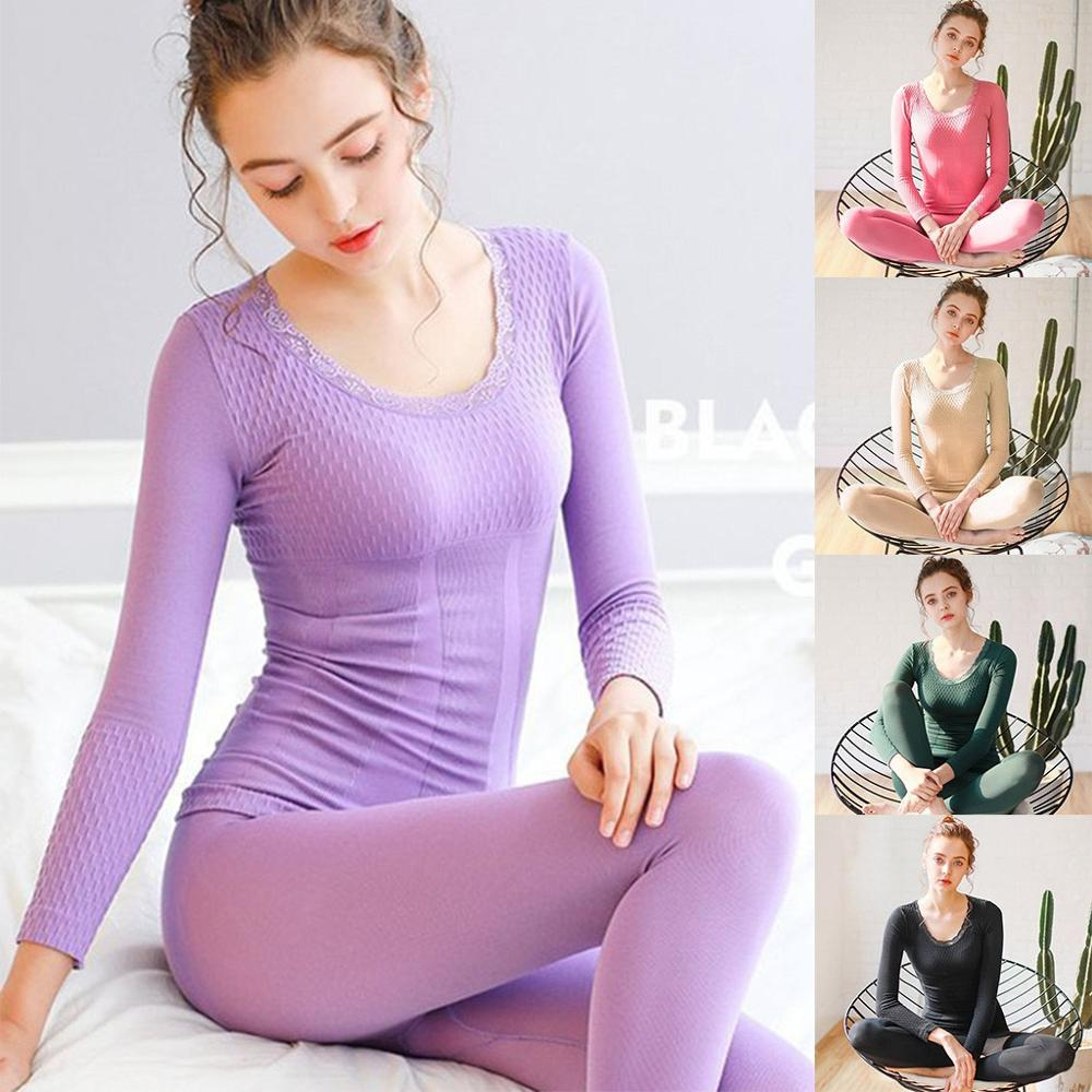 Long Johns Woman Seamless Elastic Winter Warm Underwear Thermal Inner Wear Bodycon Shaped Slim Female Pajamas Set H1