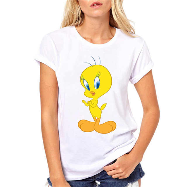 Camiseta harajuku kawaii Looney Tunes Tweety Pássaro imprimir camisas engraçadas de t mulheres roupas top verão fêmea branca t-shirt do tumblr tees